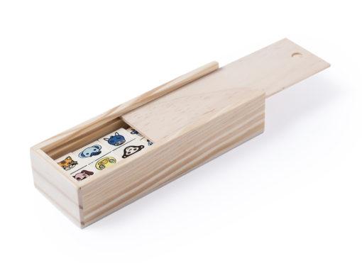 caja de domino madera animalitos