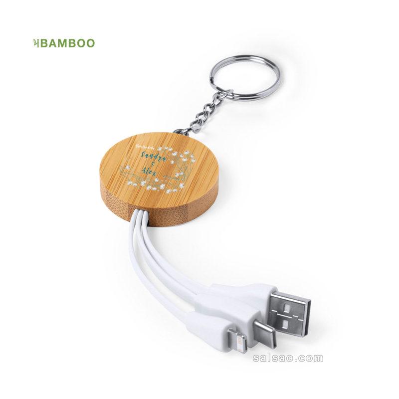 cargador llavero bambu