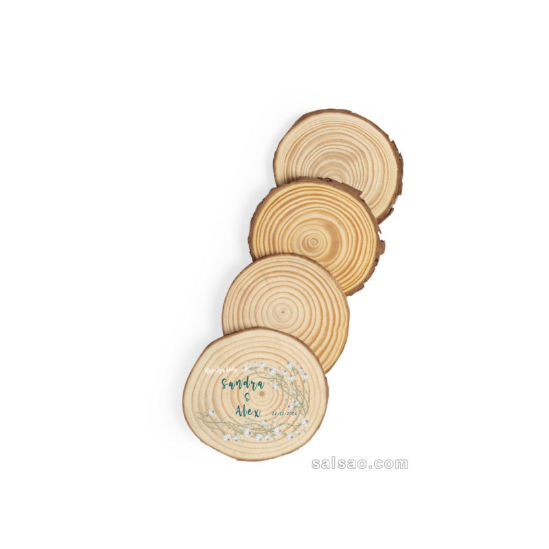 set posavasos madera boda