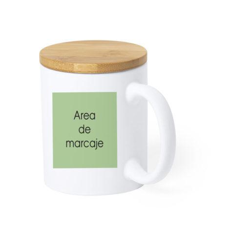taza con tapa bambu personalizada