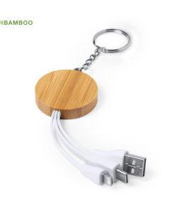 cargador llavero bambú personalizado