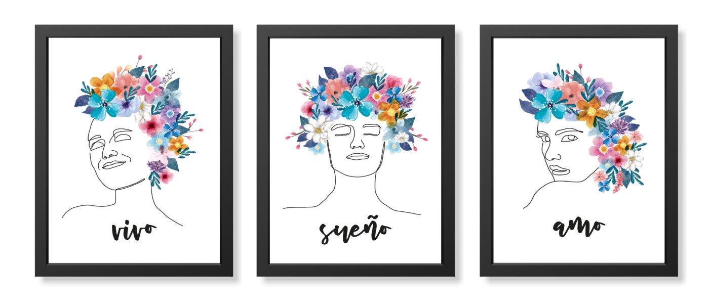 cuadro mujer flores cabeza negro