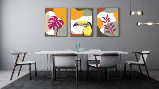 decoracion sala cuadros tropicales