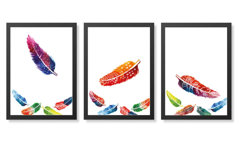 láminas de plumas coloridas