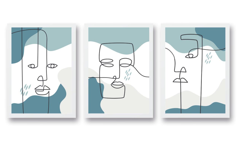 triptico laminas rostros línea contínua