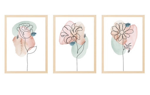 triptico laminas flores linea continua