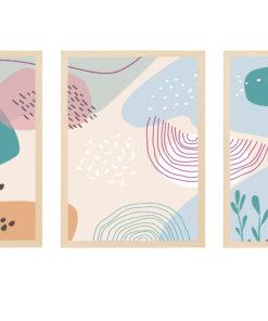 triptico laminas figuras abstractas pastel