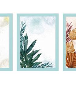 triptico de plantas acuarelas