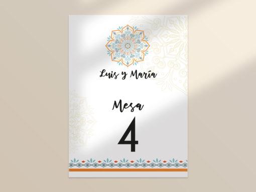 número mesa boda editable mandala SALSAO