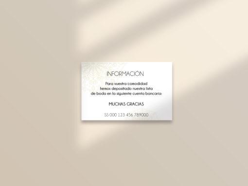 tarjeta cuenta bancaria boda editable mandala SALSAO